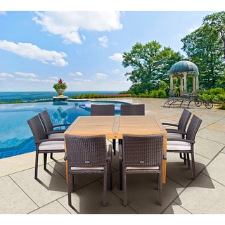 Amazonia Teak Fontainbleu 9-piece Teak/ Synthetic Wicker Dining Set