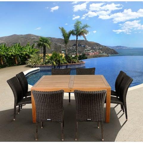 Amazonia Monaco 9-piece Teak and Wicker Dining Set