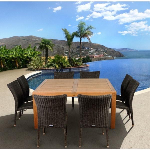 Amazonia Teak Monaco 9-piece Teak and Synthetic Wicker Square Dining Set