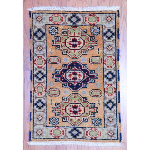 Handmade Kazak Wool Rug (India) - 2' x 3'