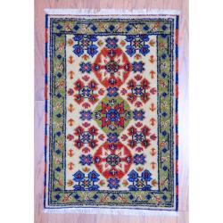 Herat Oriental Indo Hand-knotted Kazak Ivory/ Green Wool Rug (2' x 3')
