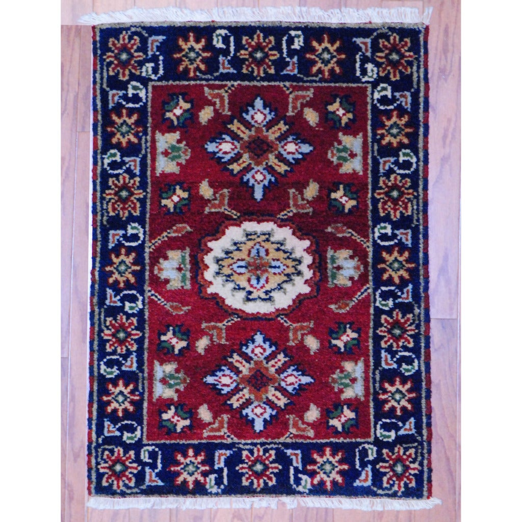 Indo Hand-knotted Kazak Red/ Navy Wool Rug (2' x 3')