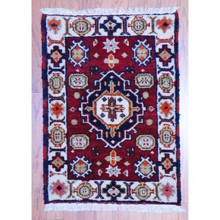 Handmade Kazak Wool Rug (India) - 2' x 3'