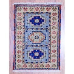 Herat Oriental Indo Hand-knotted Kazak Light Blue/ Grey Geometric Wool Rug (2' x 3')