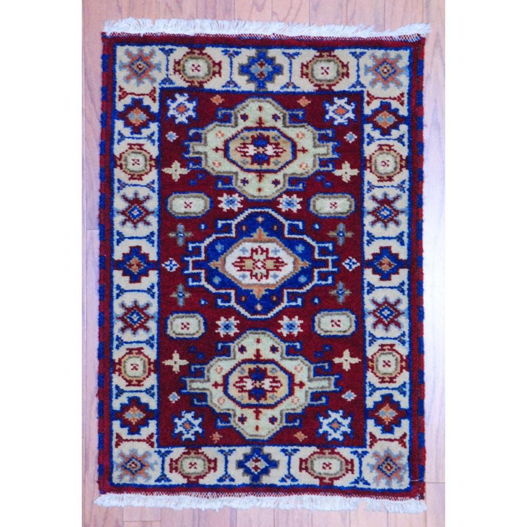 Herat Oriental Indo Hand-knotted Kazak Wool Rug (2' x 3') - 2' x 3'