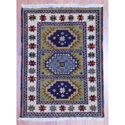 Herat Oriental Indo Hand-knotted Kazak Gold/ Olive Wool Rug (2' x 3')