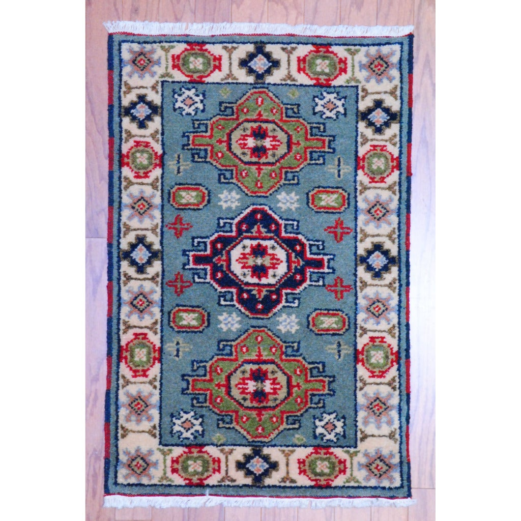 Shop Indo Hand Knotted Kazak Light Blue Ivory Wool Rug 2