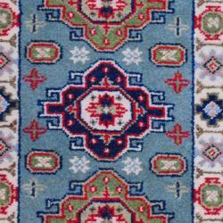 Indo Hand-knotted Kazak Light Blue/ Ivory Wool Rug (2' x 3') - Thumbnail 1
