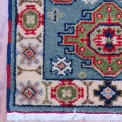 Indo Hand-knotted Kazak Light Blue/ Ivory Wool Rug (2' x 3') - Thumbnail 2
