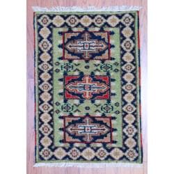Herat Oriental Indo Hand-knotted Traditional Kazak Light Green/ Navy Wool Rug (2' x 3')