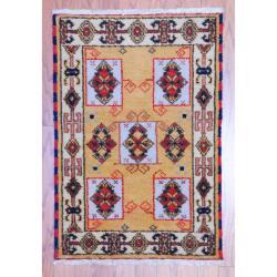 Herat Oriental Indo Hand-knotted Kazak Gold/ Ivory Wool Rug (2' x 3')