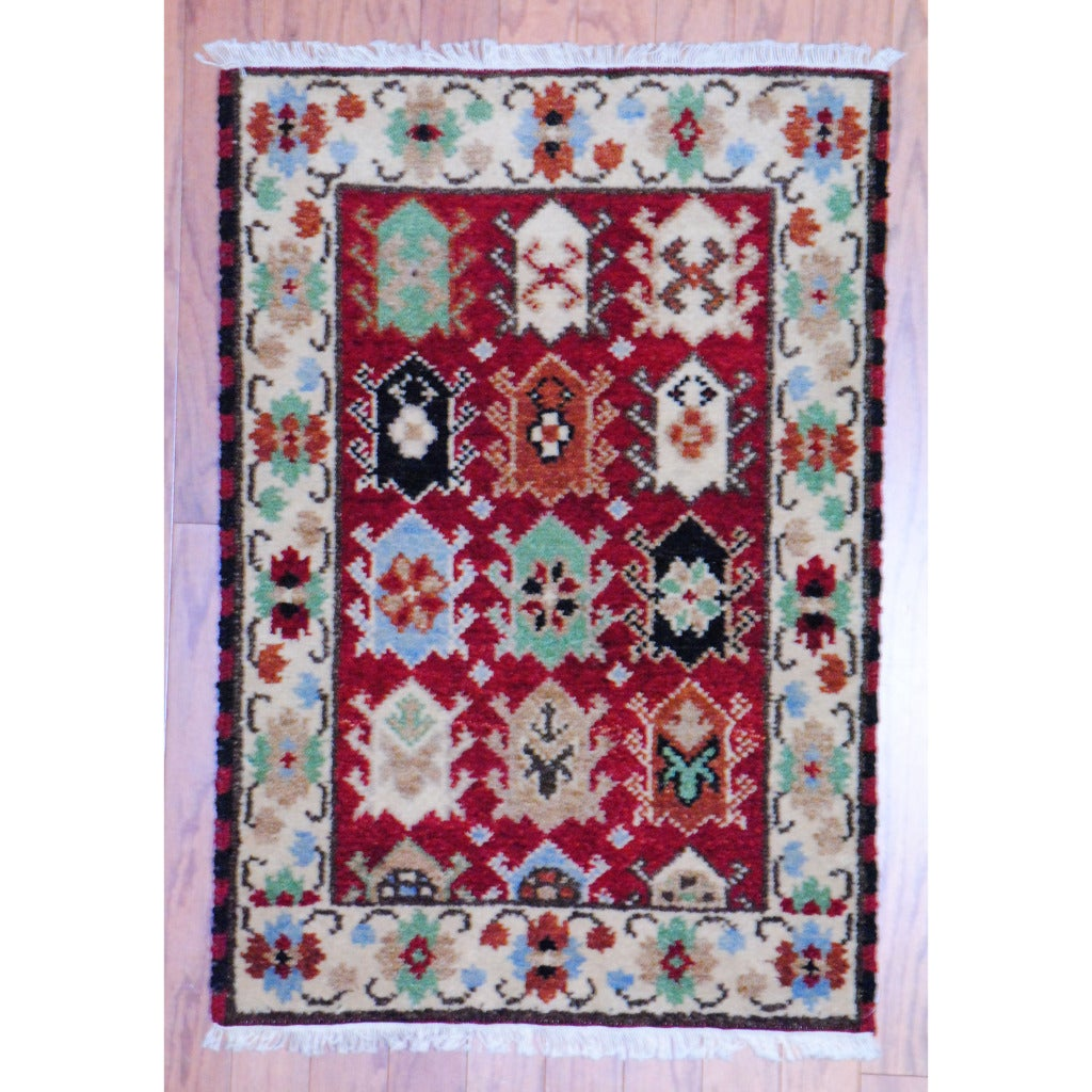 Handmade Herat Oriental Indo Kazak Wool Rug (India) - 2' x 3'