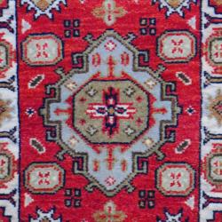 Small Indo Hand-Knotted Kazak Red/Ivory Wool Rug (2' x 3')