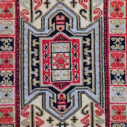 Indo Hand-Knotted Kazak Gold/Ivory Wool Geometric Rug (2' x 3')