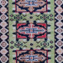 Herat Oriental Indo Hand-knotted Kazak Light Green/ Navy Wool Rug (2' x 3')