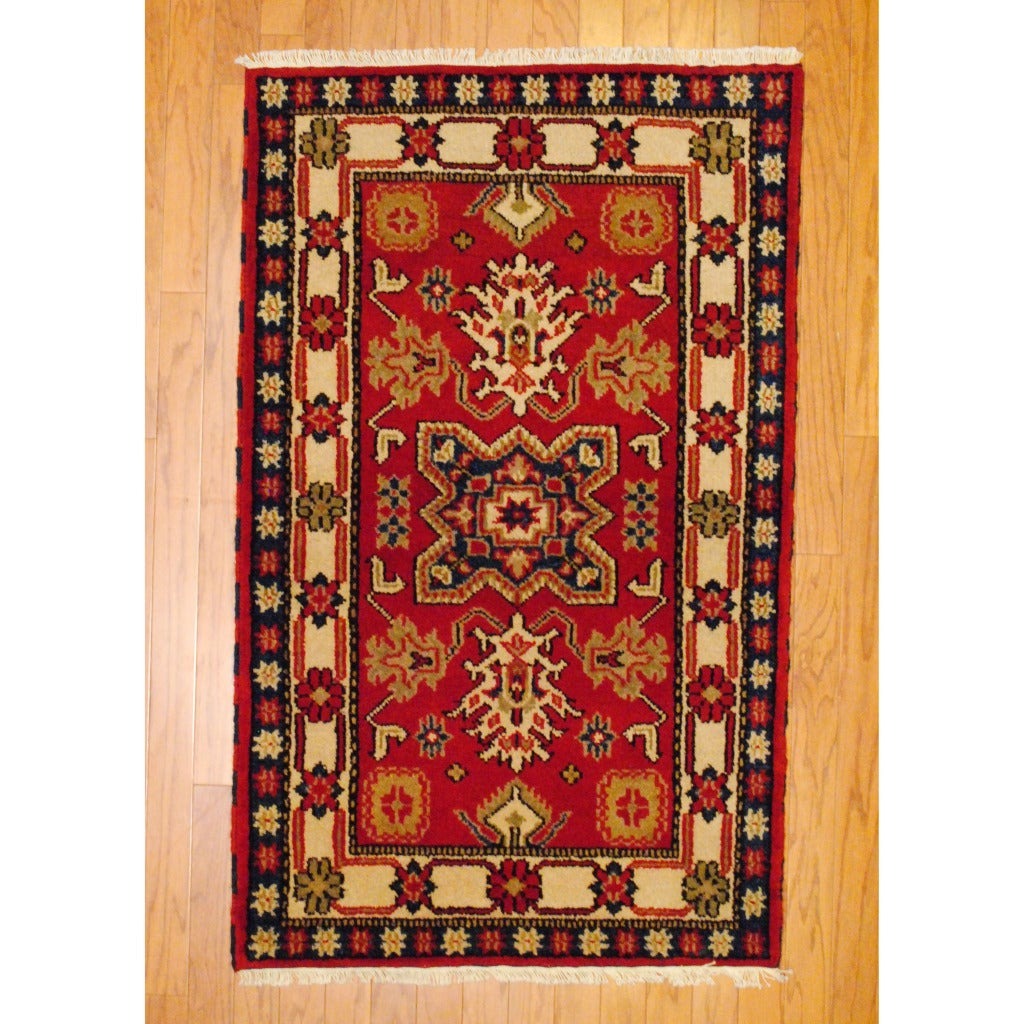 Herat Oriental Indo Hand-knotted Kazak Rust/ Ivory Wool Area Rug (3' x 5')