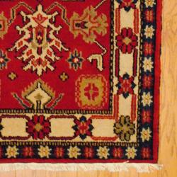 Herat Oriental Indo Hand-knotted Kazak Rust/ Ivory Wool Area Rug (3' x 5') - Thumbnail 1