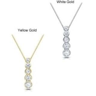 929daf83e3c49c Auriya Straight 5-Stone Bezel Diamond Journey Necklace 1/2ct TDW 14k Gold