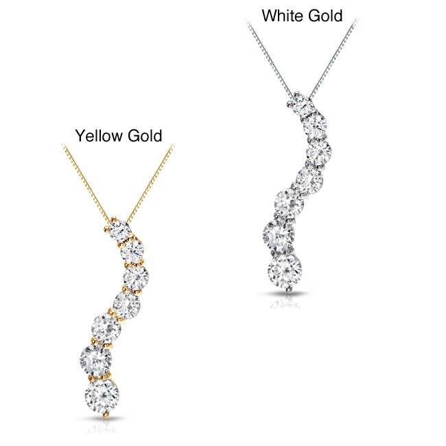 Auriya 14k Gold 1ct TDW Round Diamond Journey Necklace (J-K, I1-I2)