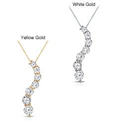 Auriya 14k Gold 1ct TDW Round Diamond Journey Necklace (J-K, I1-I2)