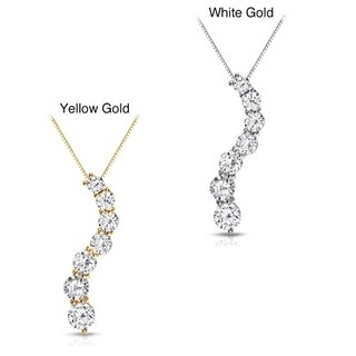 Auriya 14k Gold 1ct TDW Round Diamond Seven Stone Journey Necklace