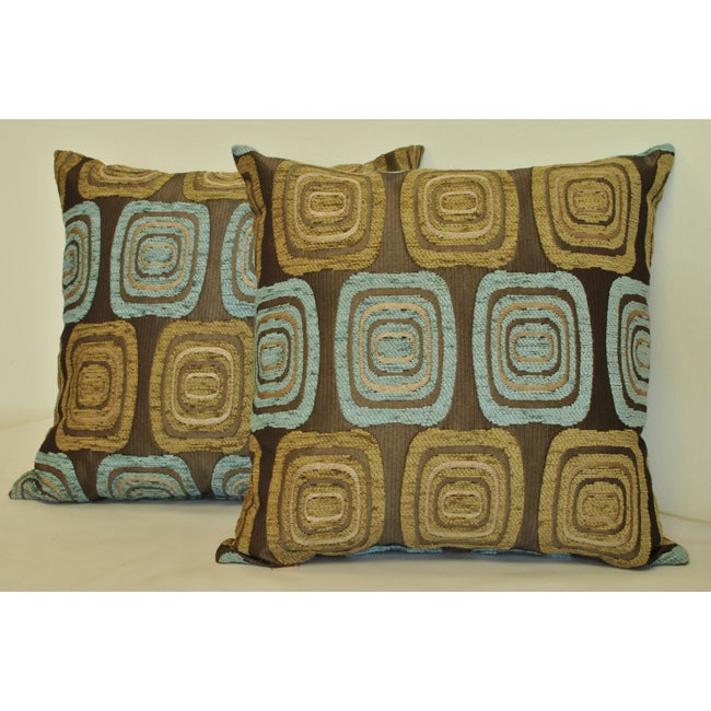 Sherry Kline Retro 18x18 Spa Blue Taupe Pillow (Set of 2)