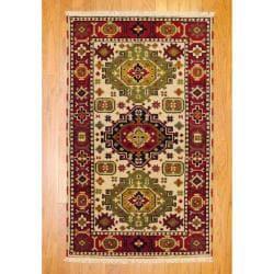 Herat Oriental Indo Hand-knotted Kazak Beige/ Rust Wool Area Rug (3' x 5')