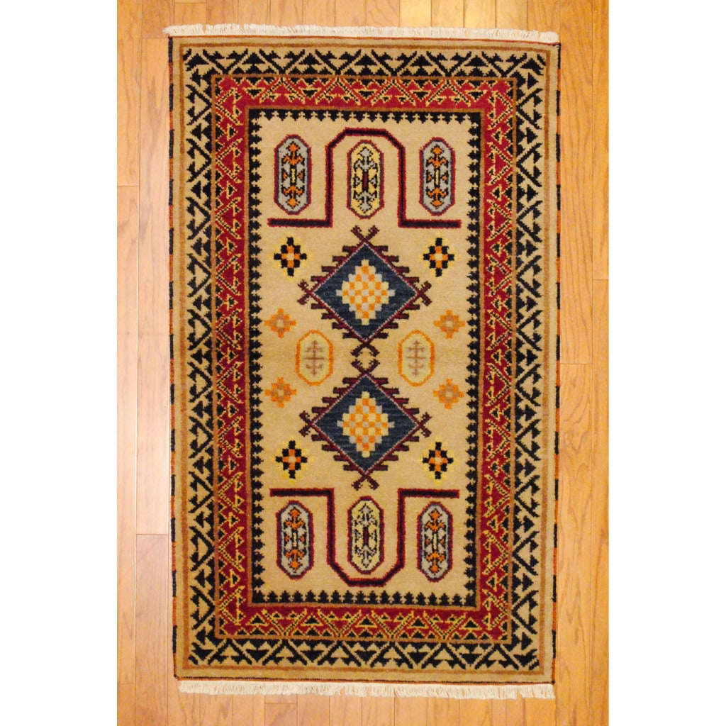 Indo Hand-knotted Kazak Beige/ Rust Wool Rug (3' x 5') - Thumbnail 0