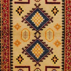 Indo Hand-knotted Kazak Beige/ Rust Wool Rug (3' x 5') - Thumbnail 1