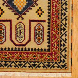 Indo Hand-knotted Kazak Beige/ Rust Wool Rug (3' x 5') - Thumbnail 2