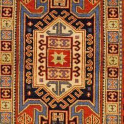 Indo Hand-knotted Kazak Orange/ Teal Wool Rug (3' x 5')
