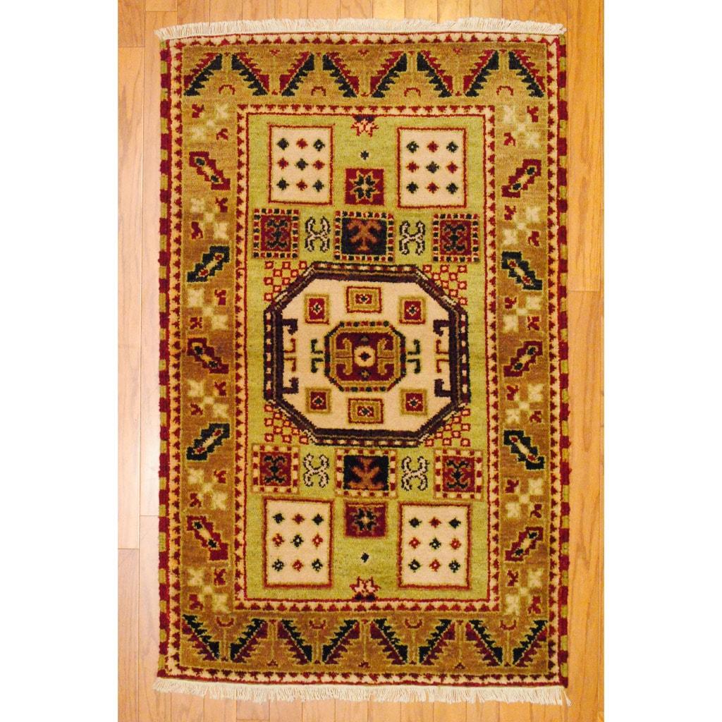 Herat Oriental Indo Hand-knotted Kazak Light Green/ Gold Wool Rug (3' x 5')