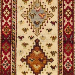 Indo Hand-knotted Kazak Ivory/ Rust Wool Rug (3' x 5') - Thumbnail 1