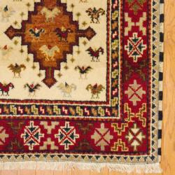 Indo Hand-knotted Kazak Ivory/ Rust Wool Rug (3' x 5')