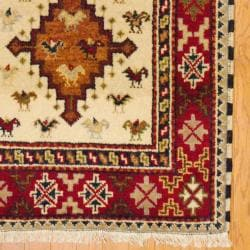 Indo Hand-knotted Kazak Ivory/ Rust Wool Rug (3' x 5') - Thumbnail 2