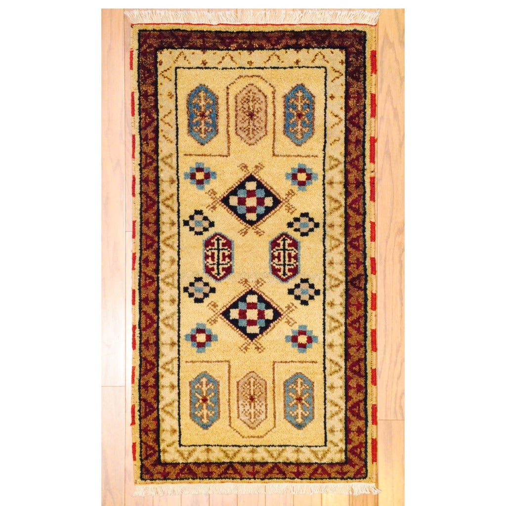 Herat Oriental Indo Hand-knotted Kazak Ivory/ Red Wool Rug (2' x 4')