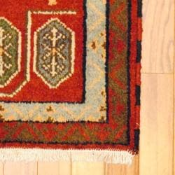 Indo Hand-knotted Kazak Rust/ Brown Wool Rug (2' x 4') - Thumbnail 1