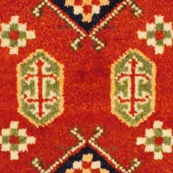Indo Hand-knotted Kazak Rust/ Brown Wool Rug (2' x 4') - Thumbnail 2