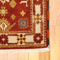 Indo Hand-knotted Kazak Rust/ Ivory Wool Rug (2' x 4')