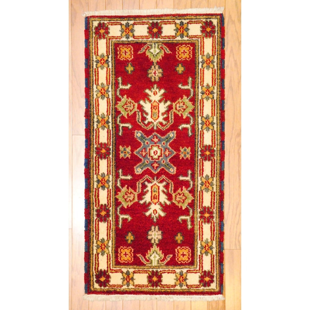 Herat Oriental Indo Traditional Hand-knotted Kazak Red/ Ivory Wool Rug (2' x 4')