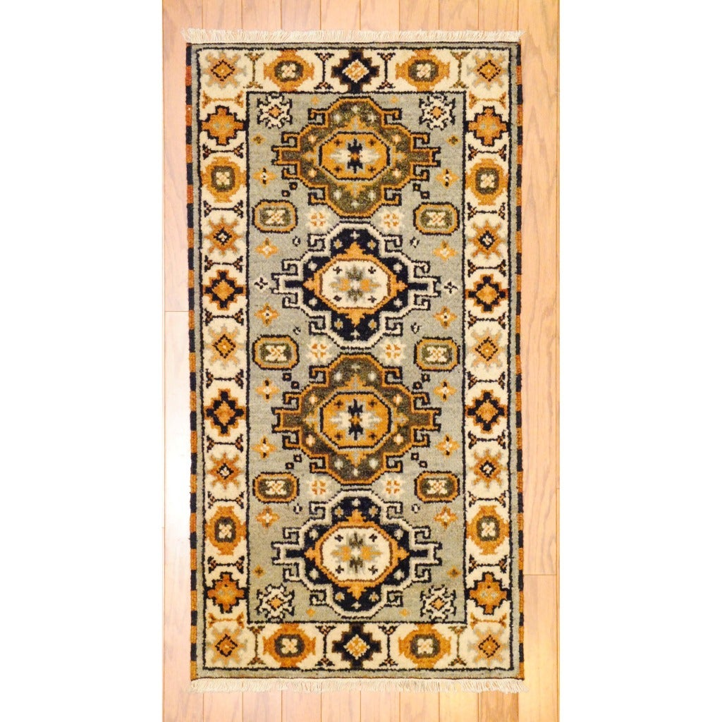 Indo Hand-Knotted Kazak Gray/Ivory Traditional Wool Rug (2' x 4')
