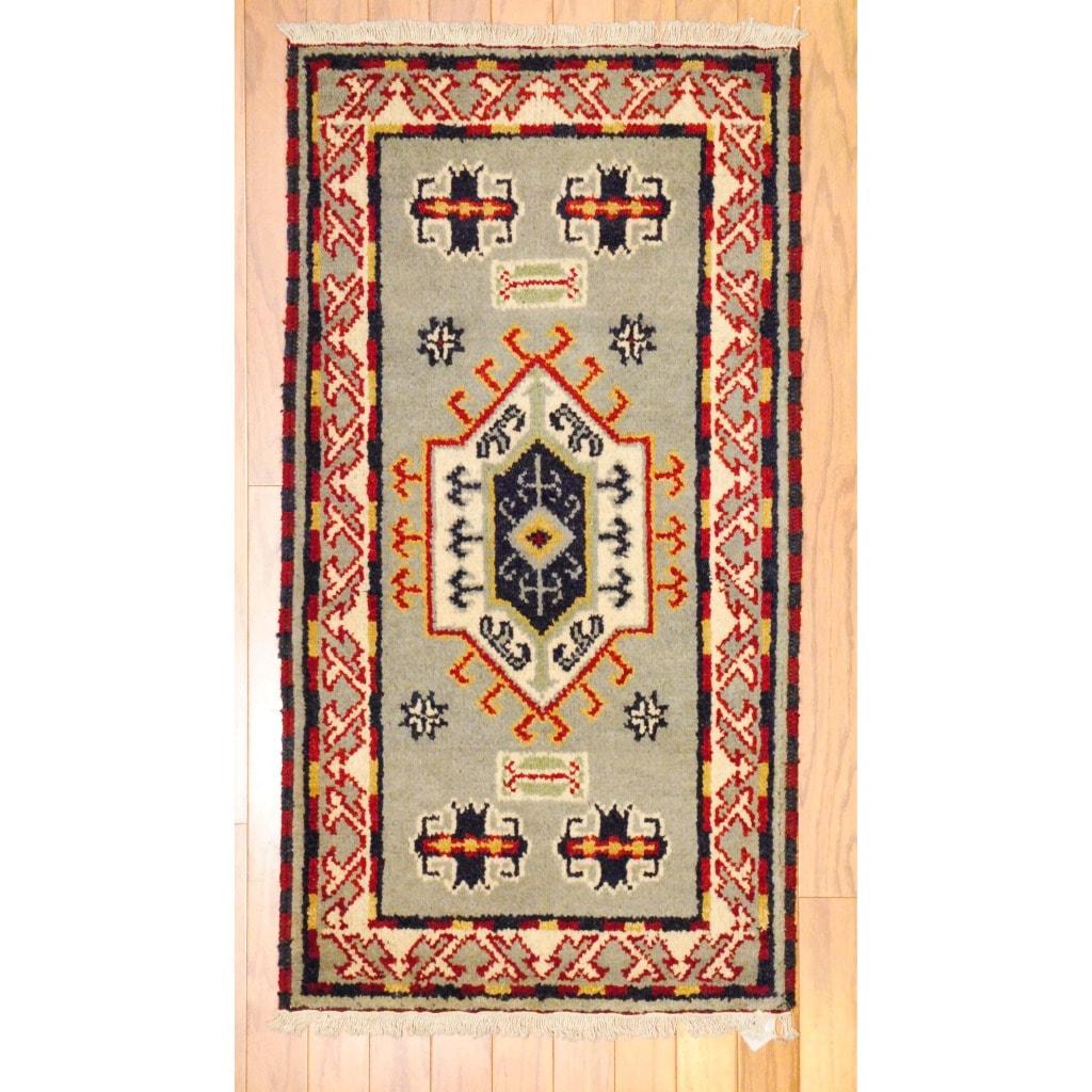 Herat Oriental Indo Hand-knotted Kazak Grey/ Ivory Wool Rug (2' x 4')