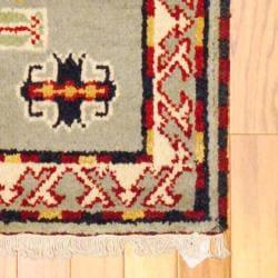 Herat Oriental Indo Hand-knotted Kazak Grey/ Ivory Wool Rug (2' x 4') - Thumbnail 1