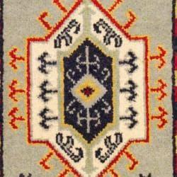 Herat Oriental Indo Hand-knotted Kazak Grey/ Ivory Wool Rug (2' x 4') - Thumbnail 2