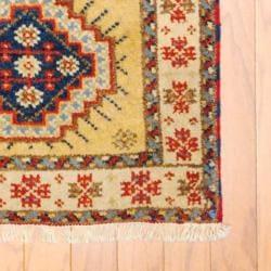 Herat Oriental Indo Hand-knotted Kazak Beige/ Gold Wool Rug (2' x 4')