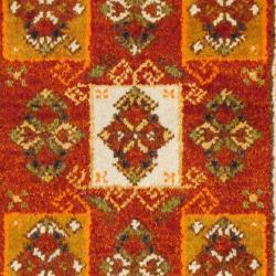 Indo Hand-knotted Kazak Rust/ Light Brown Wool Rug (2' x 4') - Thumbnail 2
