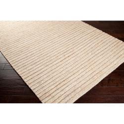 Hand-woven Beige Doctate Natural Fiber Hemp Rug (3'3 x 5'3)