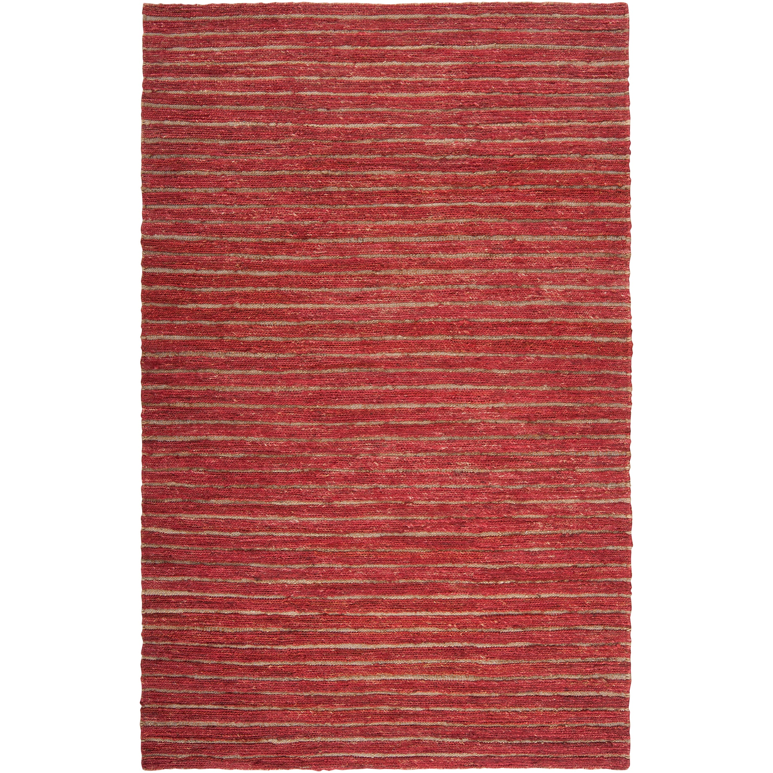 Handwoven Red Doctate Natural Fiber Transitional Hemp Rug (8' x 11')