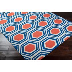 Hand-woven White Faithful Wool Rug (3'6 x 5'6) - Thumbnail 1