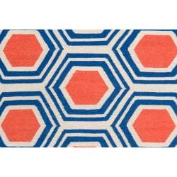 Hand-woven White Faithful Wool Rug (3'6 x 5'6) - Thumbnail 2